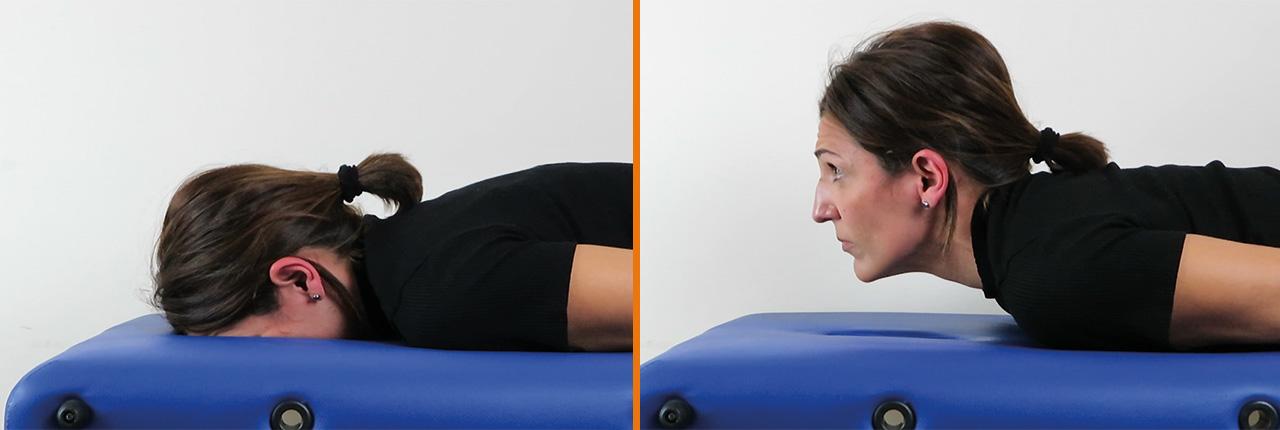 Prueba flexión craneo-cervical MVC dolor cervical en prono MVC